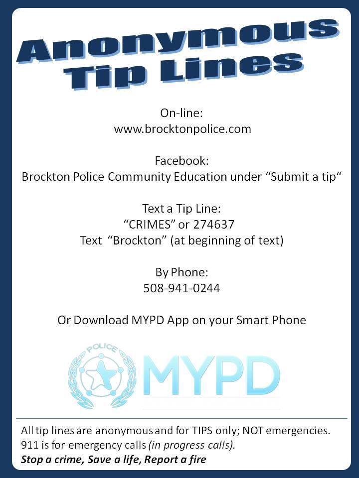 Anonymous Tip Line (Brockton Police Department) &mdash