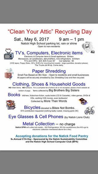May 6 · Clean Your Attic Recycling Day at NHS May 6th — Nextdoor