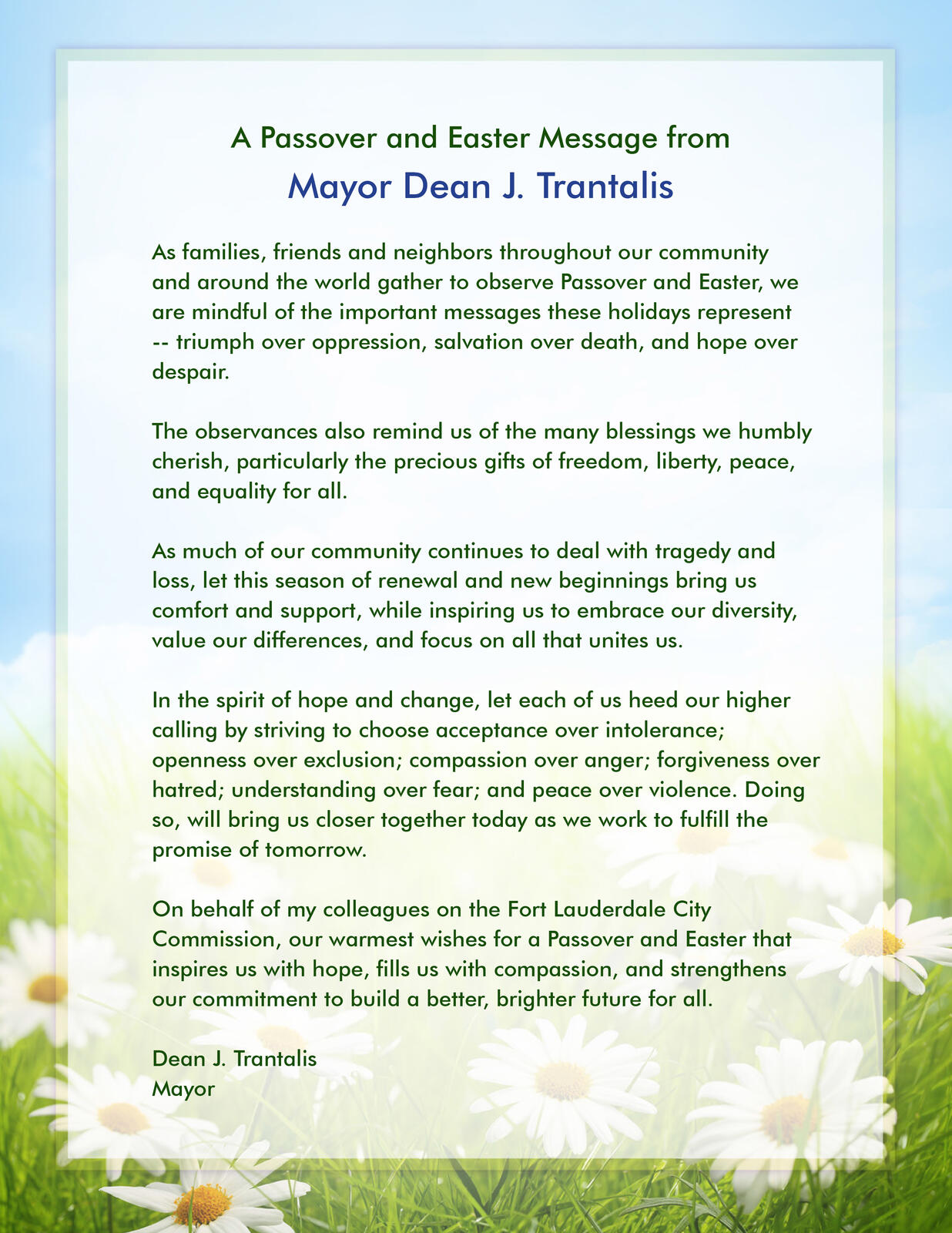 A passover and easter message from mayor dean j trantalis city of a passover and easter message from mayor dean j trantalis city of fort lauderdale nextdoor negle Images