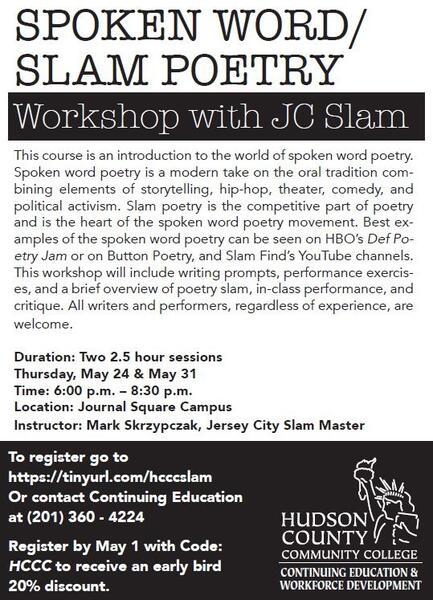 May 24 · Spoken Word / Slam Poetry Workshop with JC Slam