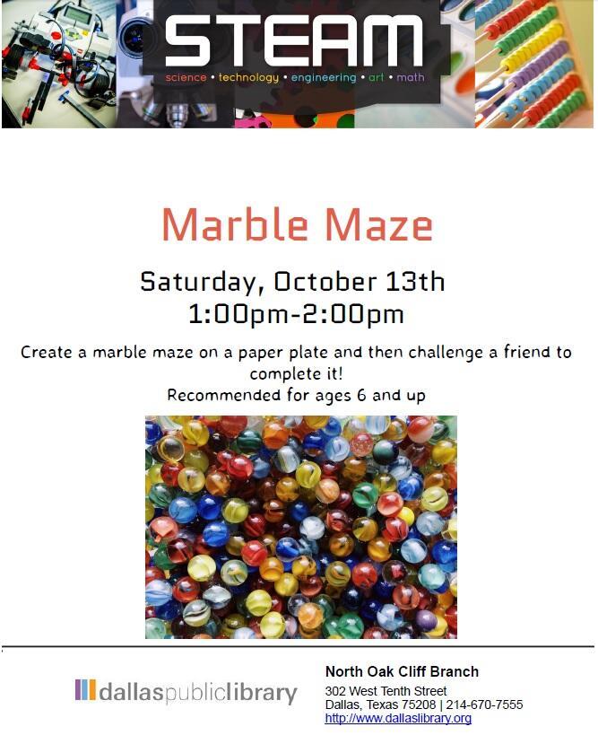 STEAM: Marble Maze (Dallas Public Library) &mdash
