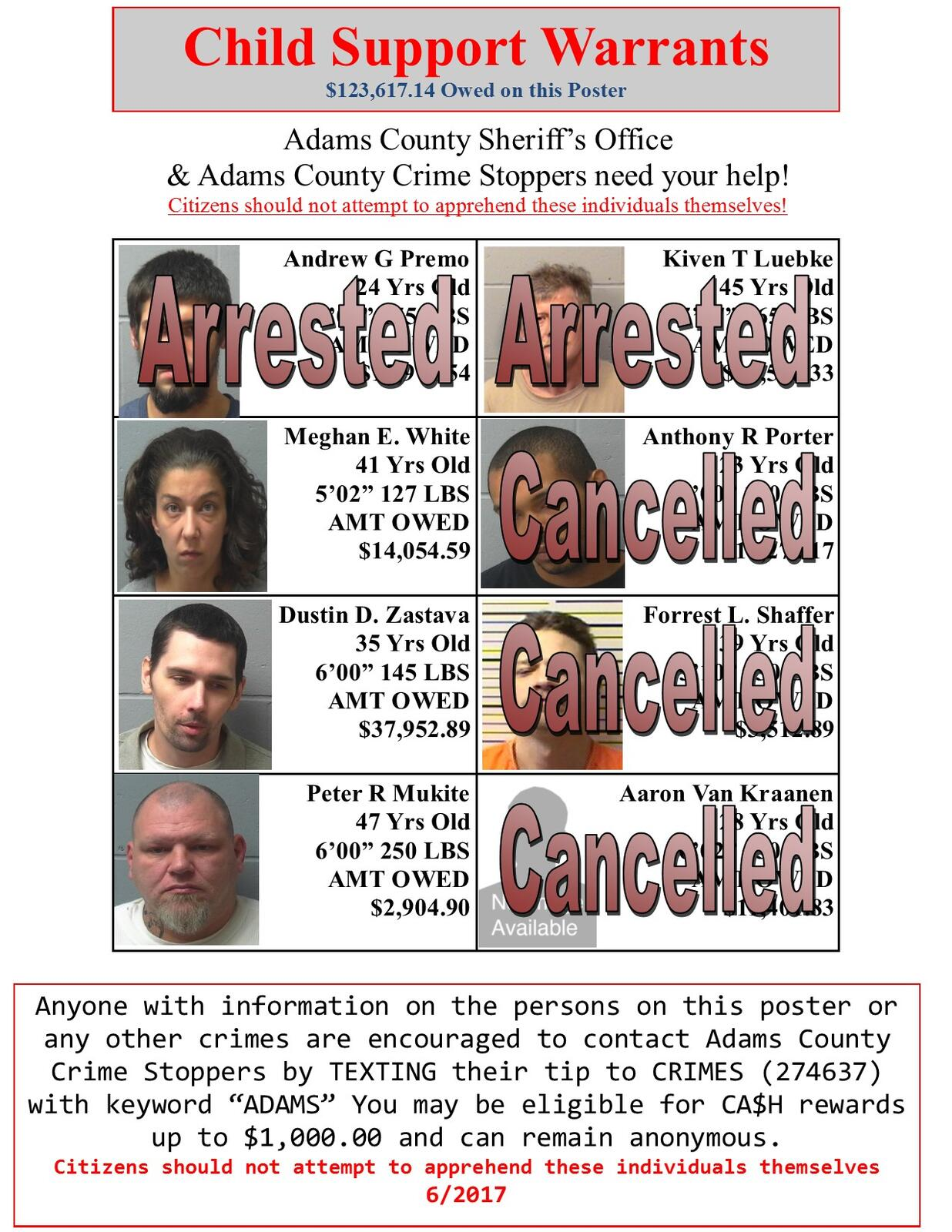 Wanted poster (Adams County Sheriff's Office) &mdash
