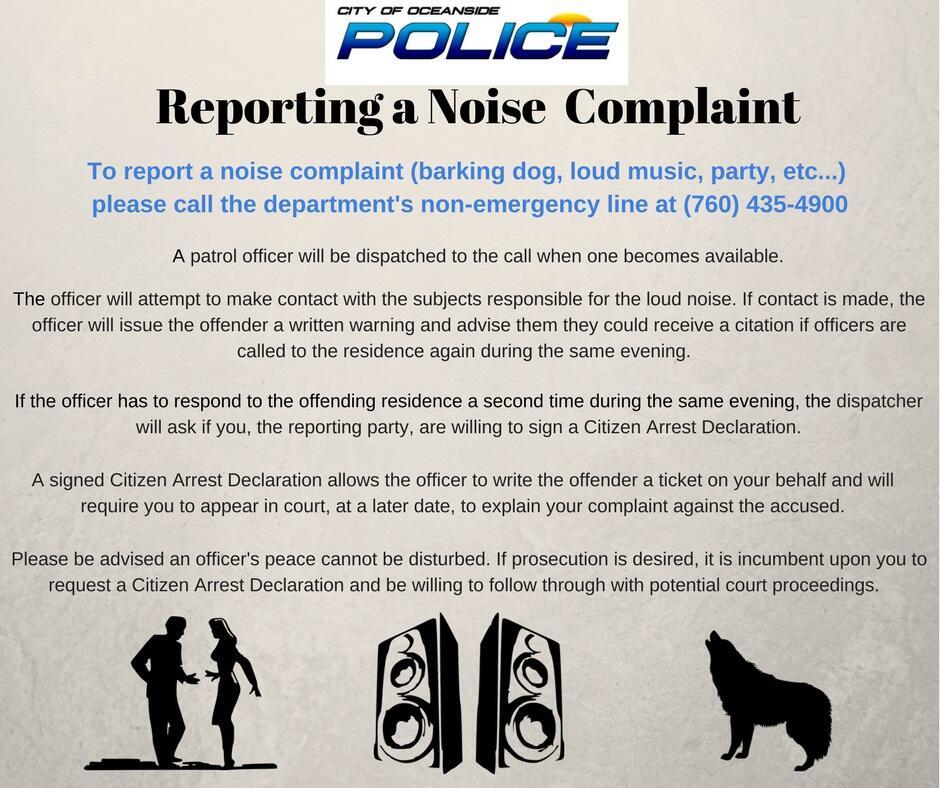 NOISE DISTURBANCE (Oceanside Police Department) &mdash