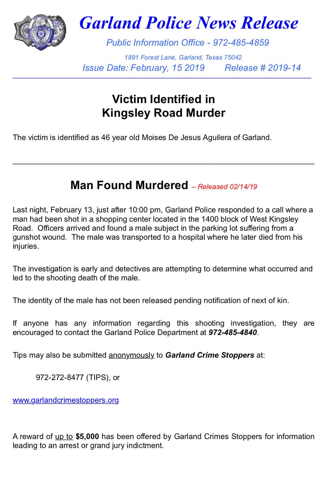 Man Found Murdered (Garland Police Department) &mdash