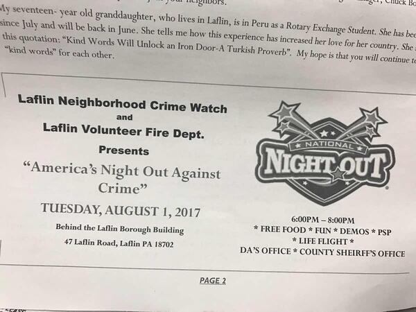 Aug 1 · Laflin Boro's National Night Out — Nextdoor