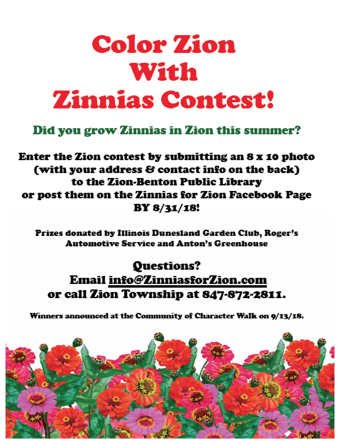Zinnias for Zion Yard Contest!!! (Zion Township) &mdash