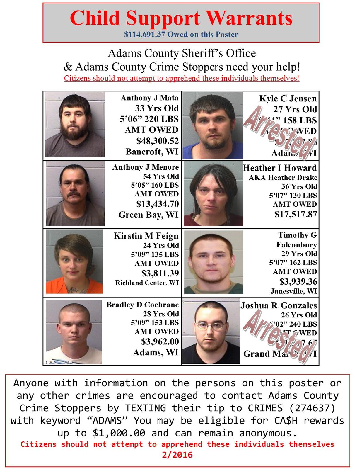 Update to the Wanted Poster (Adams County Sheriff's Office) | Nextdoor
