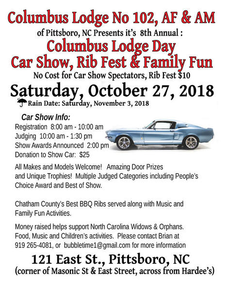 Oct Th Annual Columbus Lodge Day Car Show And Spare Rib Fest - Car show trophy categories