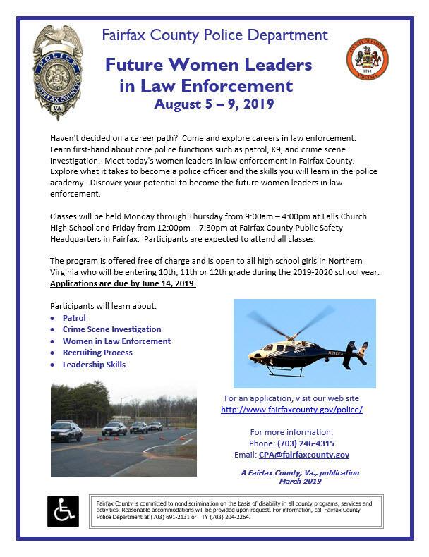 The FCPD Future Women Leaders in Law Enforcement Program is