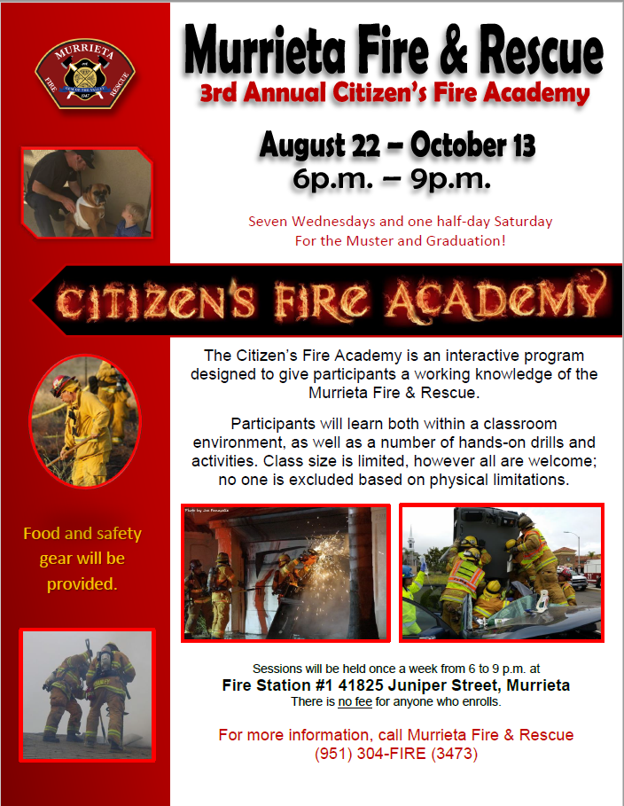 murrieta fire rescue citizen s fire academy murrieta fire department nextdoor