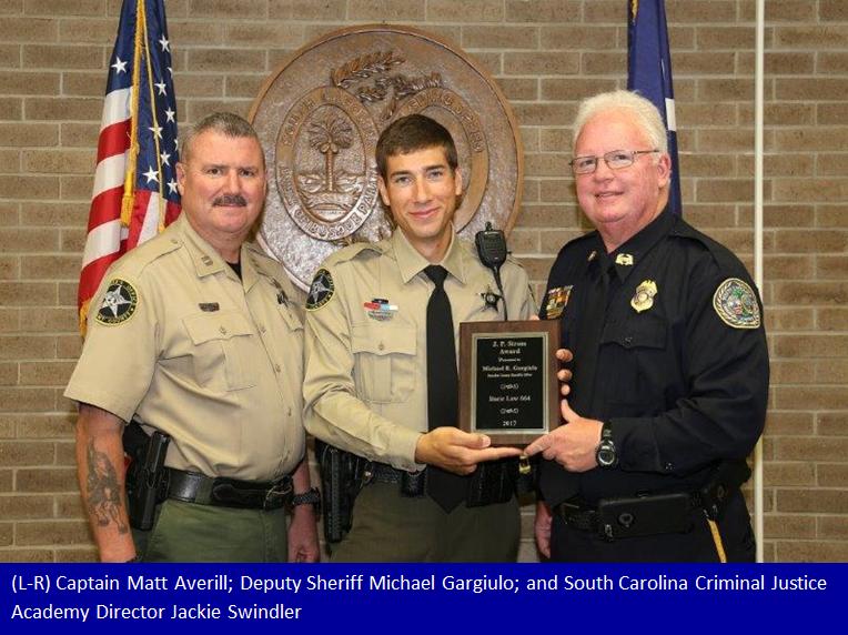 Deputy Michael Gargiulo receives J  P  Strom Award from the