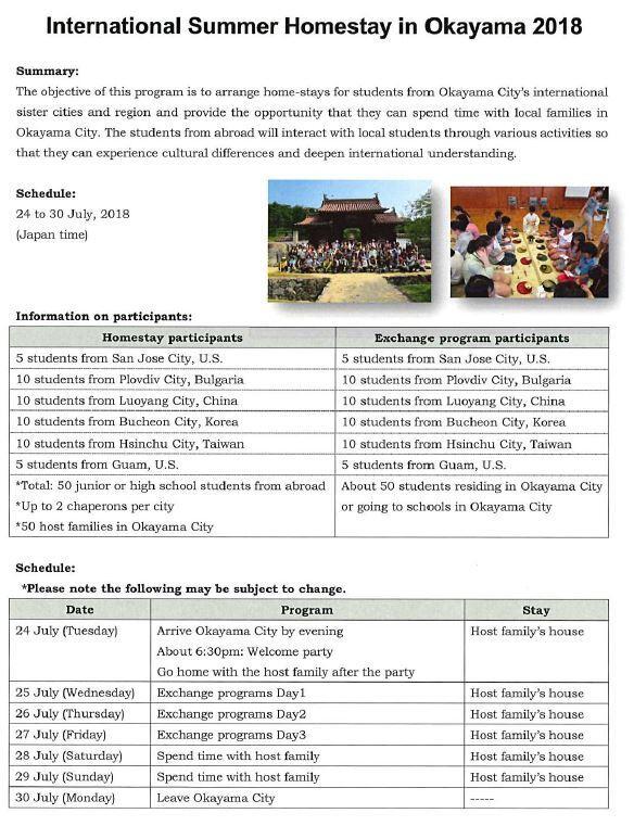 International Summer Homestay in Okayama 2018 (San José City