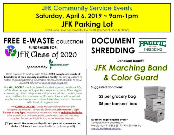 Apr 6 · JFK Community Service Event - EWASTE & SHREDDING April 6