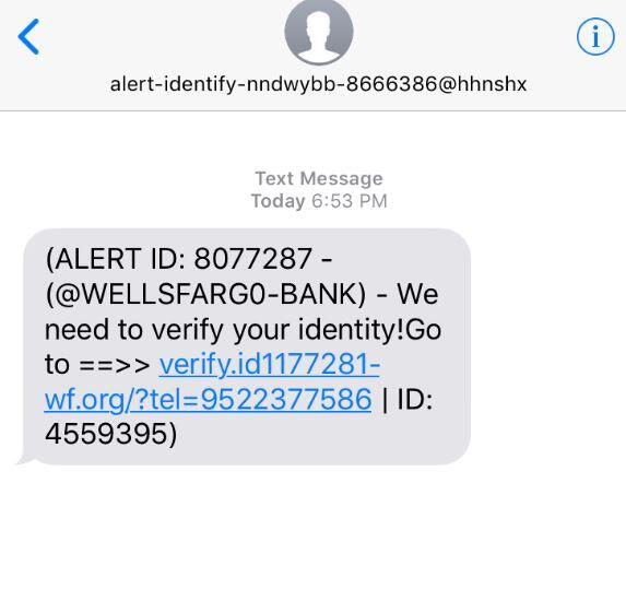 New Scam Alert: Text asking to verify your identity with