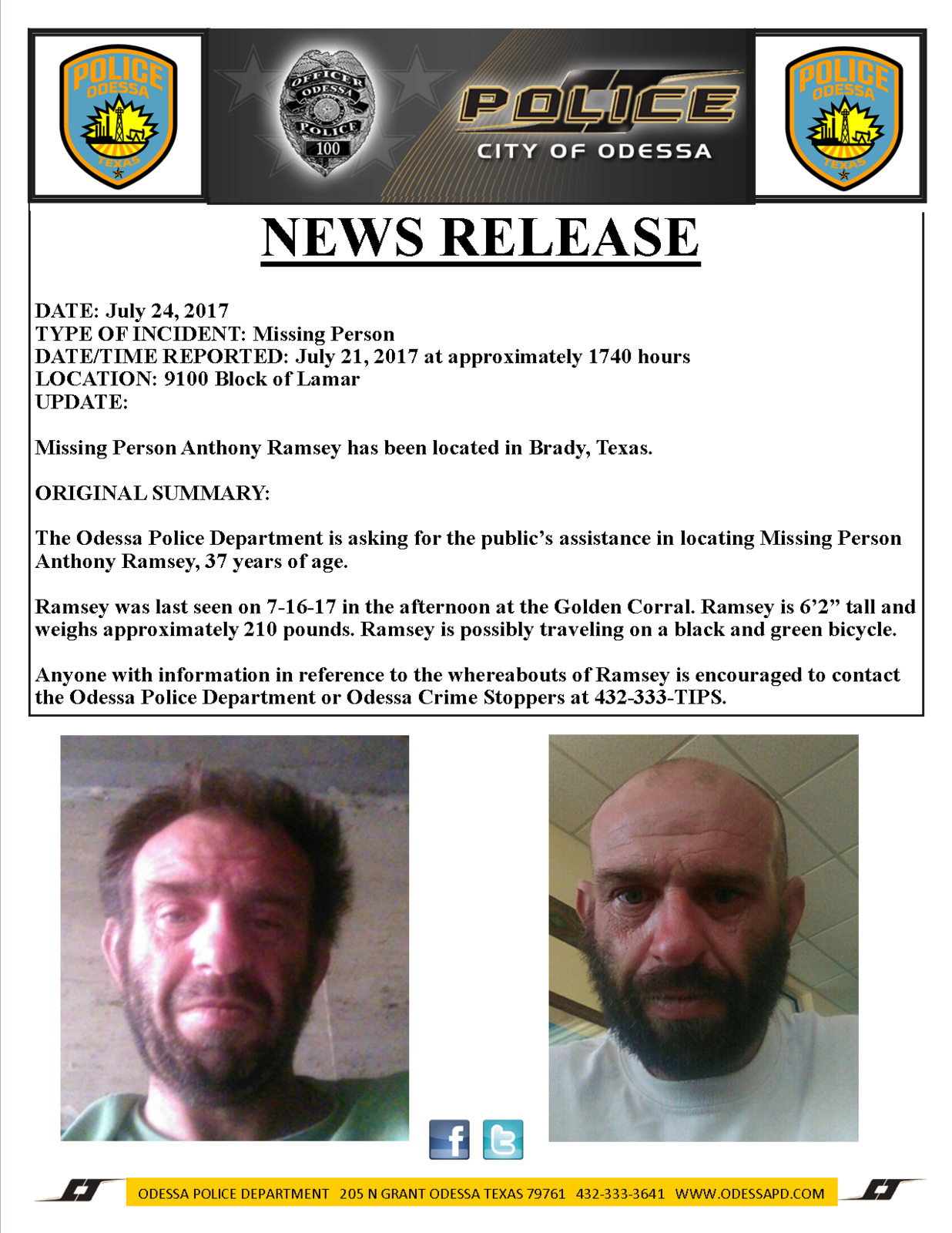 Update: Missing Person Anthony Ramsey Located in Brady, Texas ...