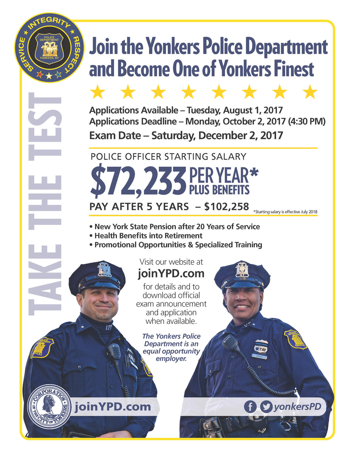 Now Accepting Applications For The Yonkers Police Officer