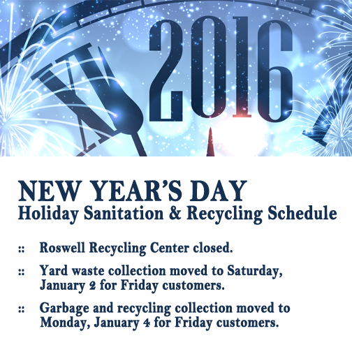 Roswell Recycling Center >> Garbage Recycling Schedule For New Year S Day City Of Roswell