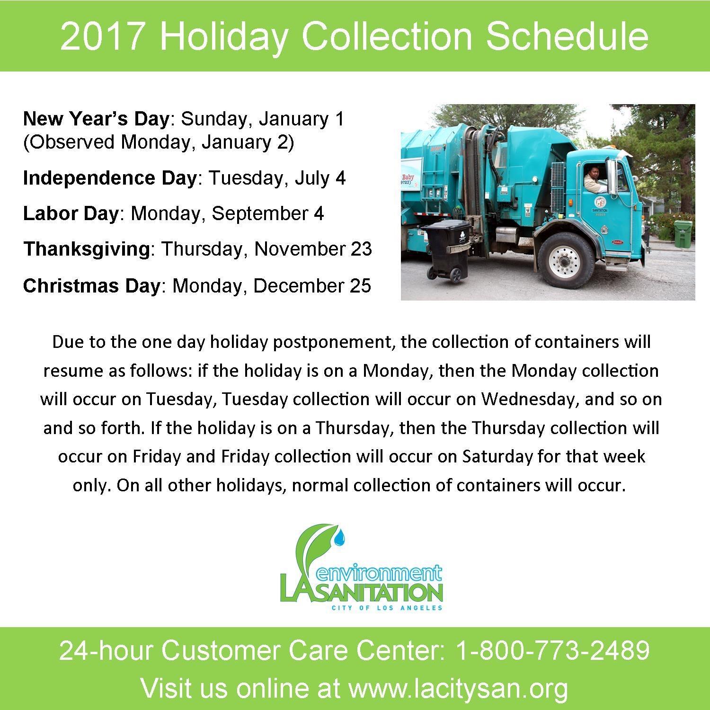 2017 Holiday Collection Schedule La Sanitation Nextdoor