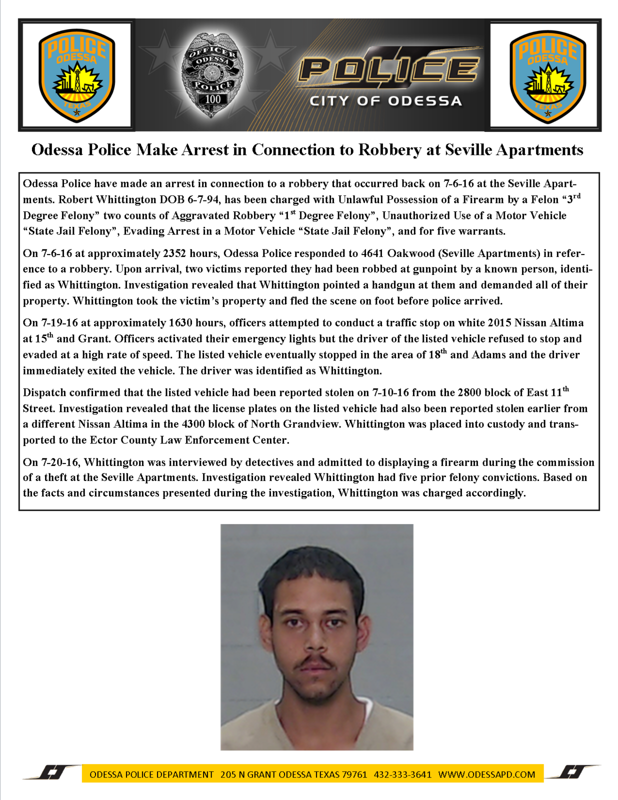 Odessa Police Make Arrest In Connection To Robbery At Seville Apartments ( Odessa Police Department) | Nextdoor