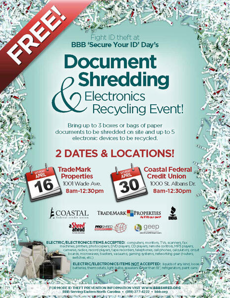 Apr 16 · BBB's Document and Electronic Shredding Event