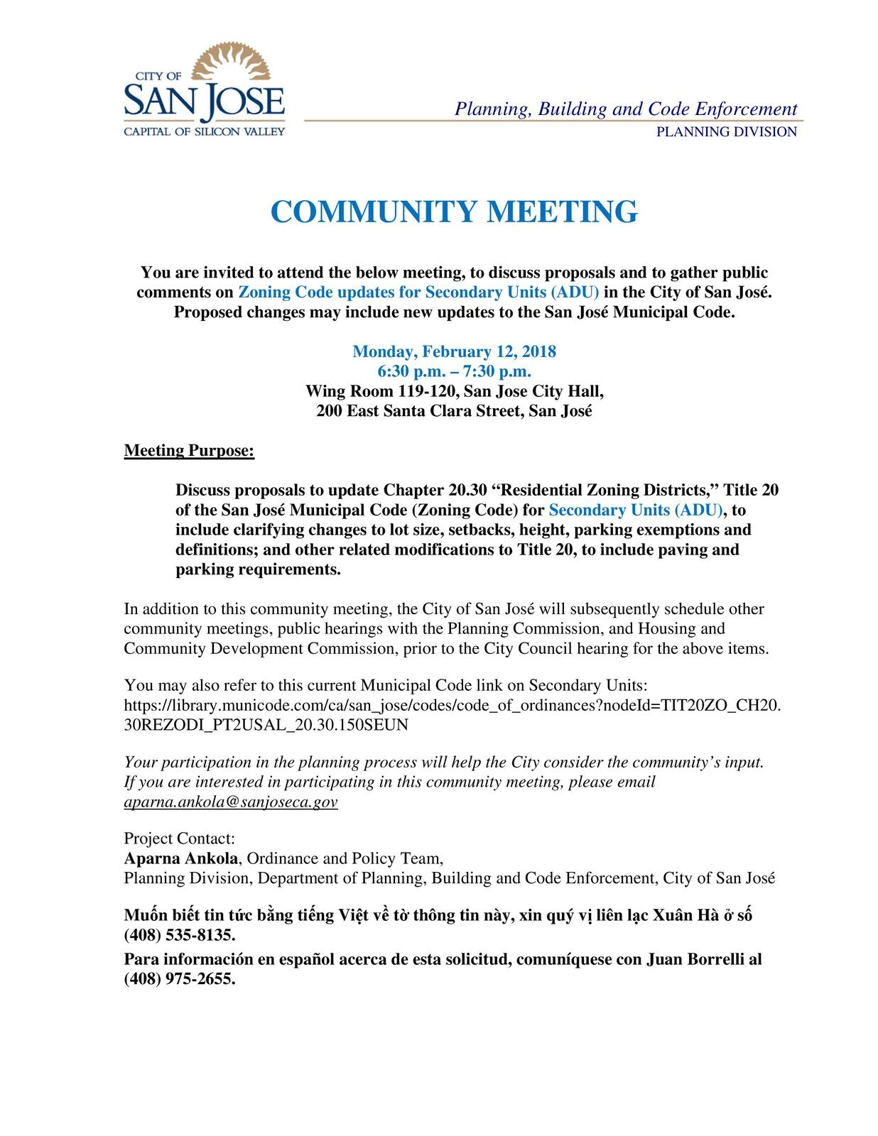 Community meeting on zoning code updates for building of secondary