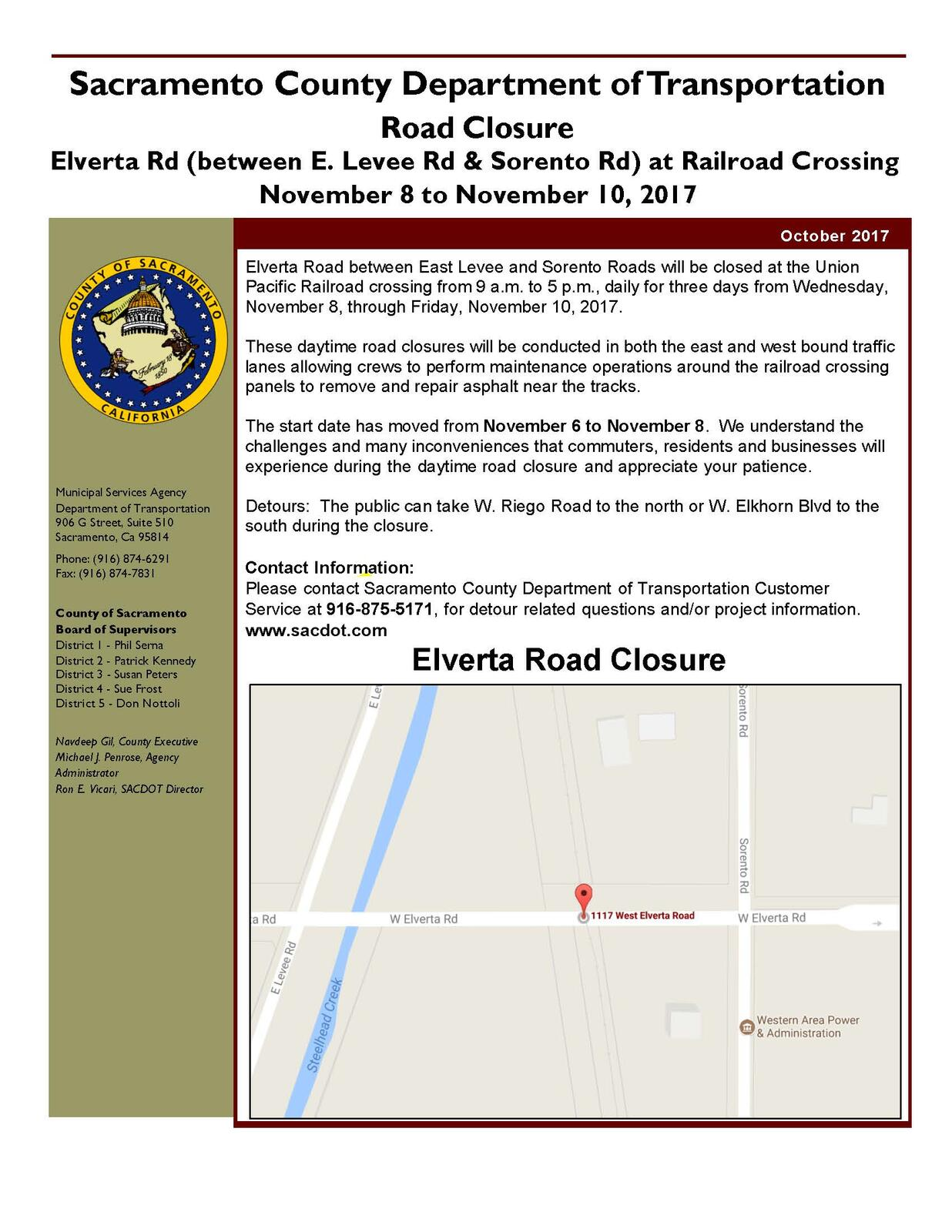 Updated road closure notification elverta road between east updated road closure notification elverta road between east levee road and sorento road sacramento county nextdoor 1betcityfo Choice Image