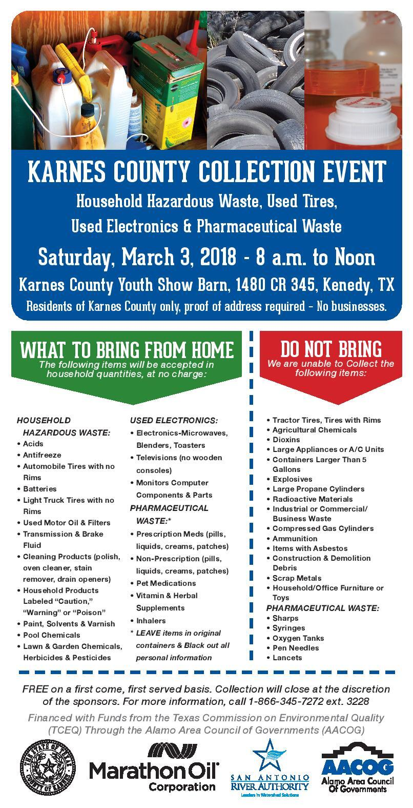 FREE Household Hazardous Waste Collection Event - March 3