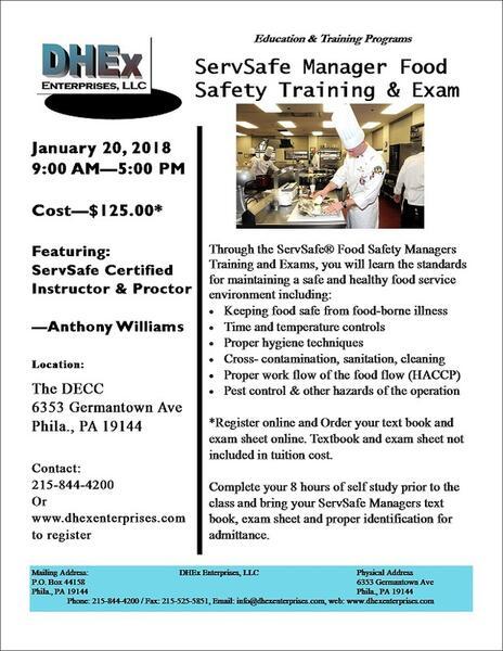 Jan 20 · ServSafe Food Safety Manager Class & Exam — Nextdoor