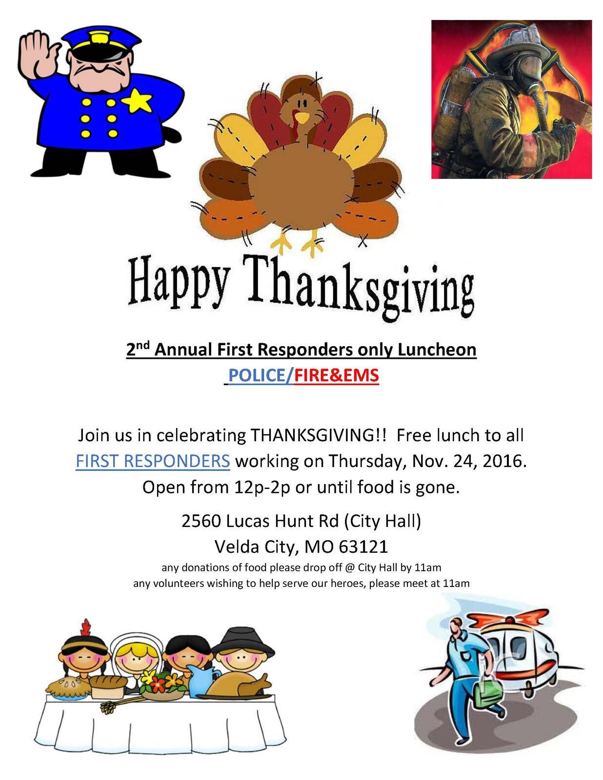 2nd Annual First Responders Only Thanksgiving Luncheon Velda City Police Department Mdash Nextdoor Nextdoor