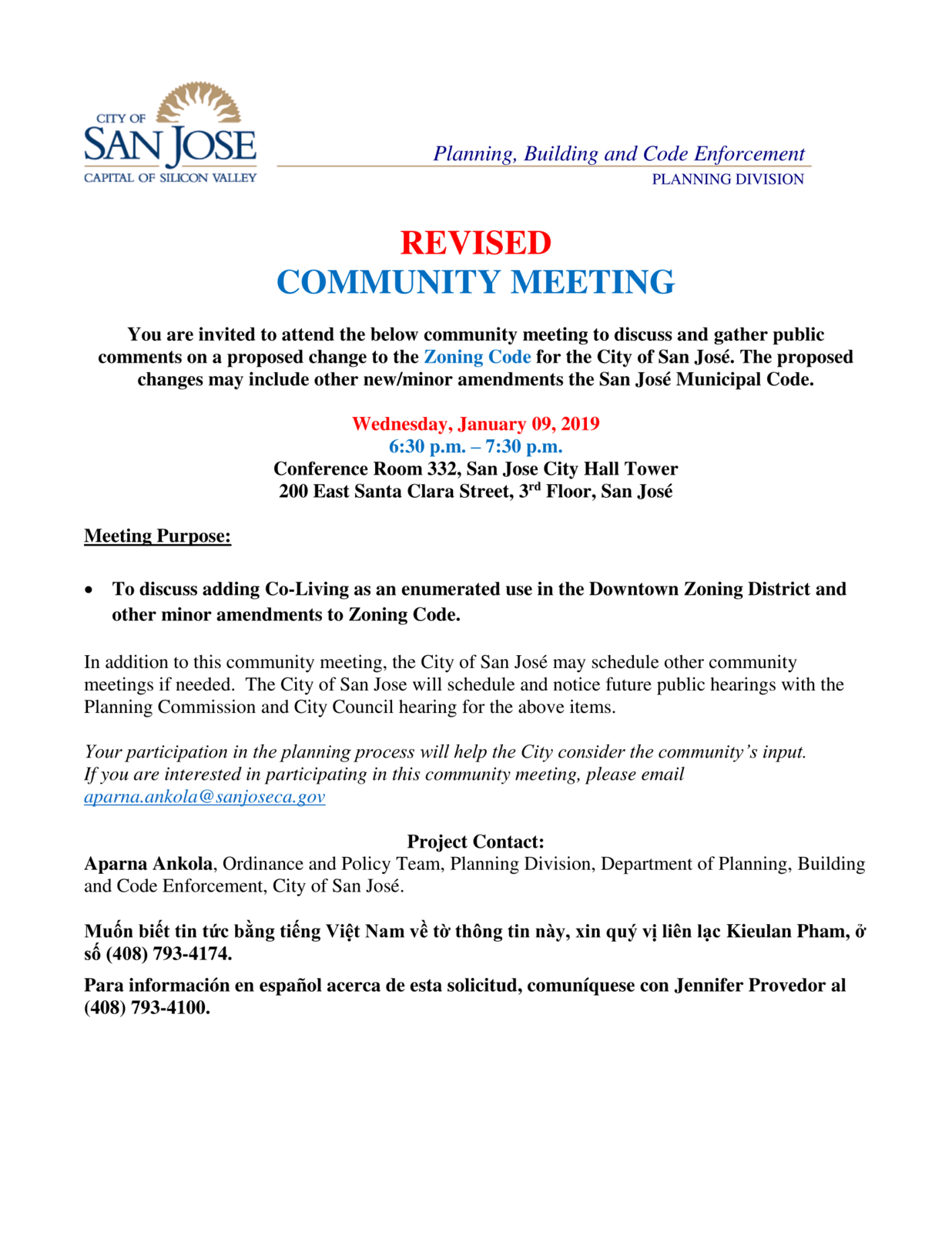 Proposed Zoning Code Change for Co-Living - Community Meeting Notice ...
