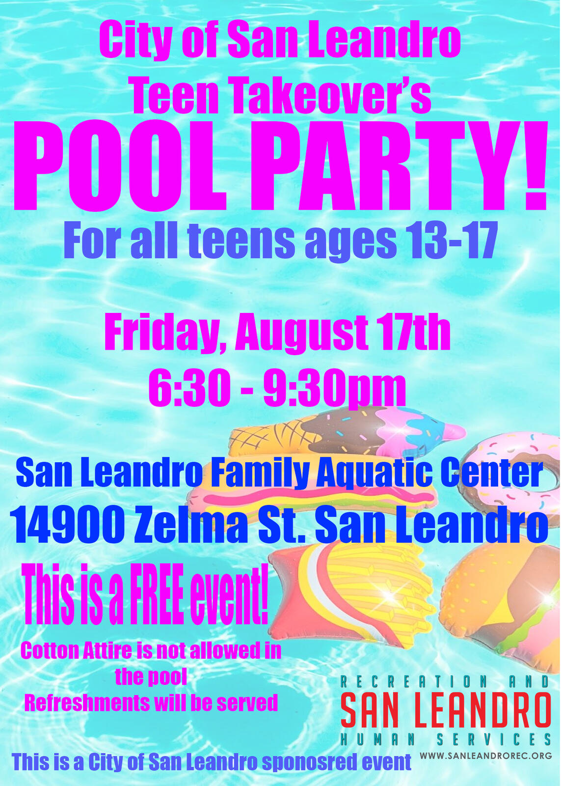 City Of San Leandro >> Free End Of Summer Teen Pool Party City Of San Leandro