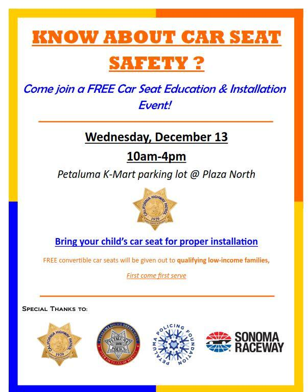 Free Car Seat Installation Day Qualifying Low Income Families May Receive A At No Cost Petaluma Police Department