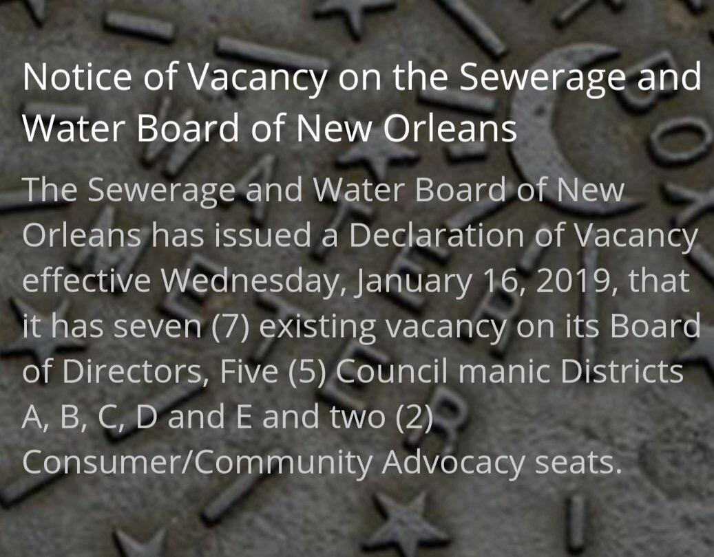 SWB Director Vacancies (City of New Orleans) &mdash
