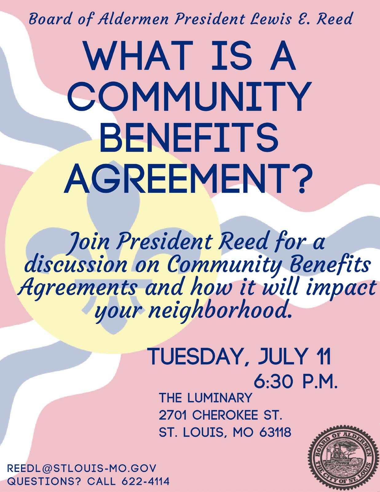 Tonight Community Benefits Agreement Meeting City Of St Louis