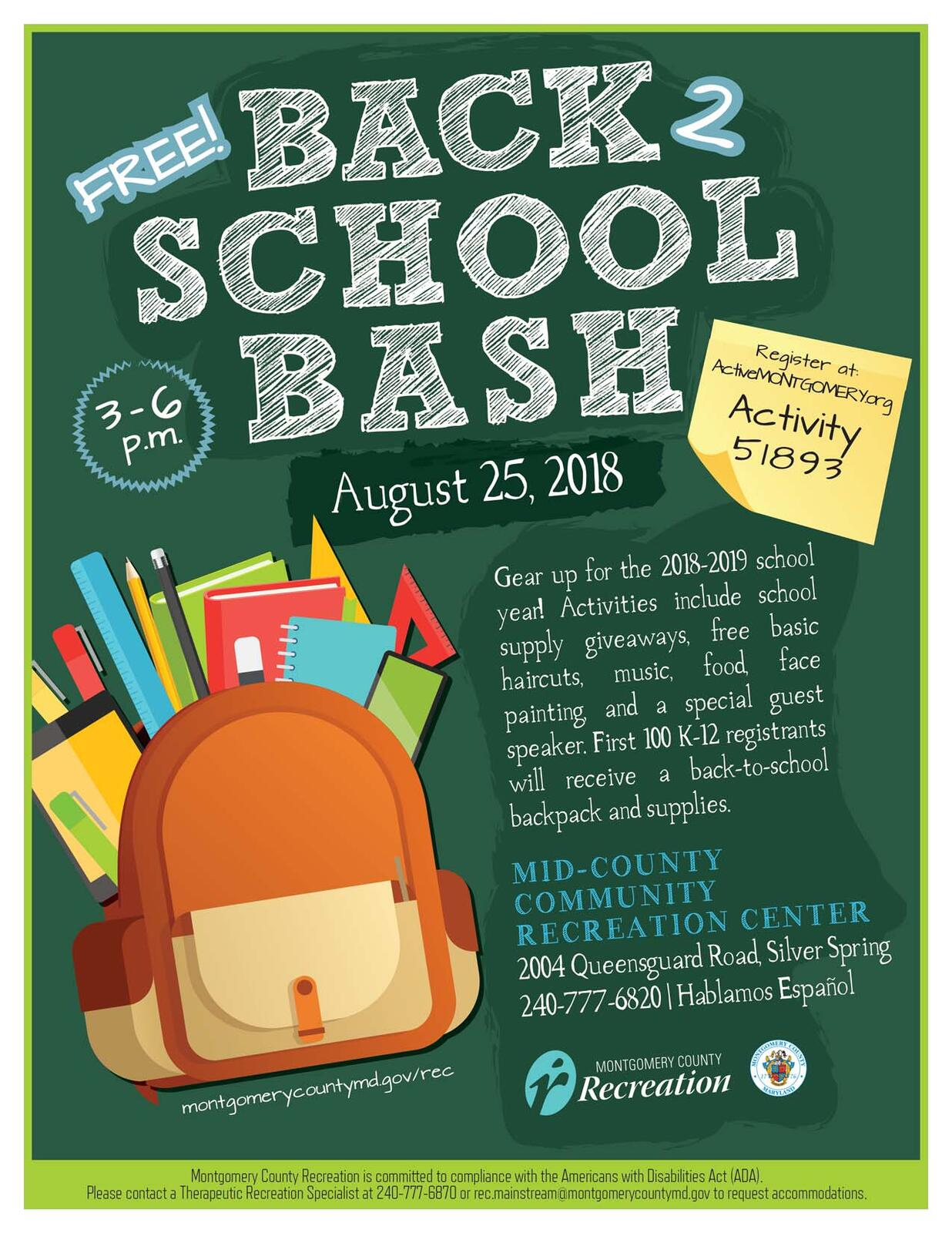 Free Back To School Bash  (Montgomery County Government