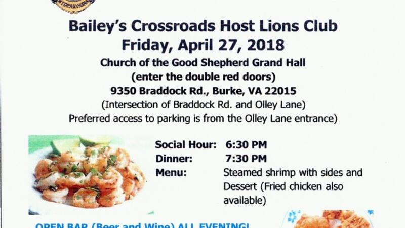 Apr 27 · Bailey's Crossroads Host Lions Annual Shrimp Dinner
