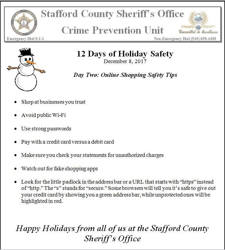 12 Days of Holiday Safety Tips-Day Two (Stafford County