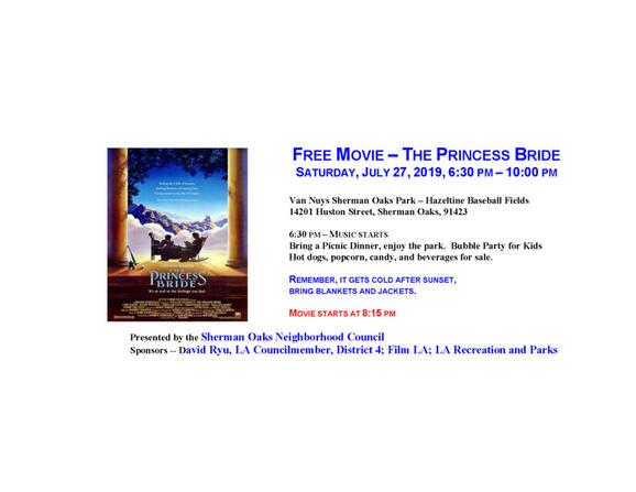 Jul 27 · FREE Movie - The Princess Bride - Saturday, July