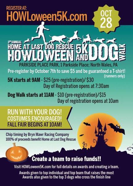 Oct 28 3rd Annual Howloween 5k And Dog Walk Benefitting Home At