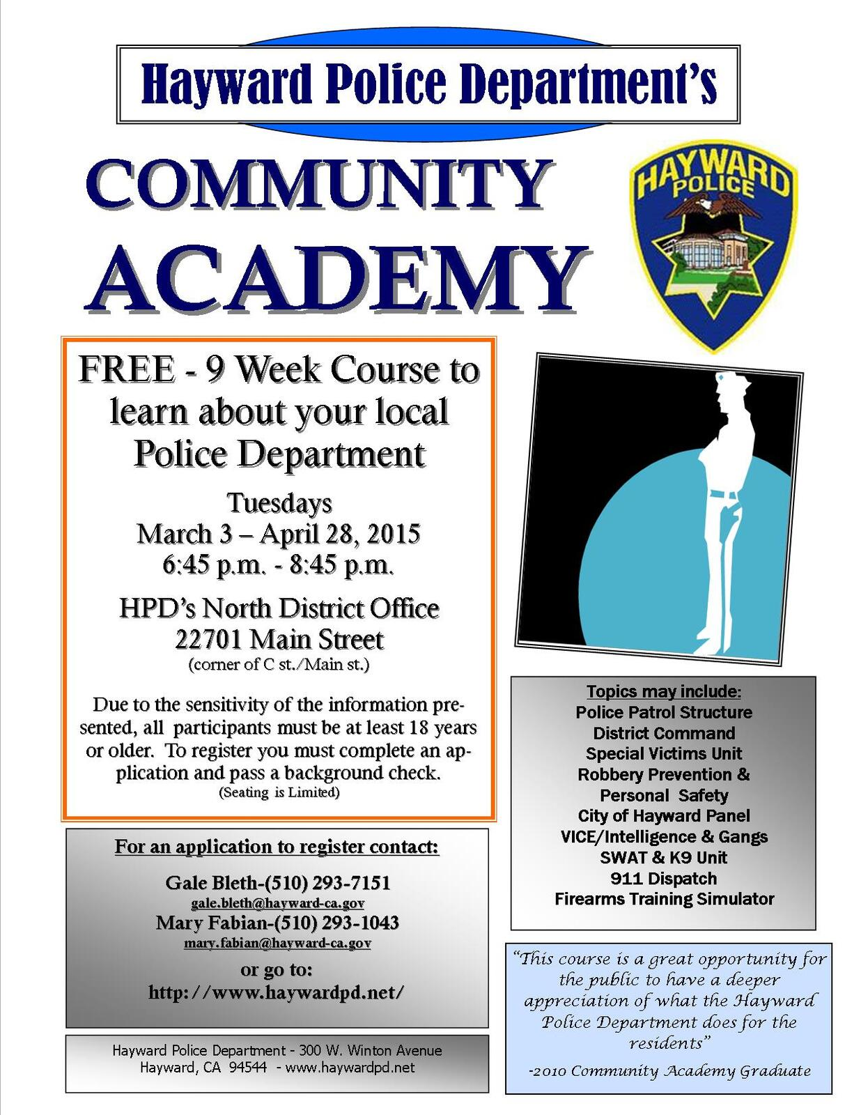 COMMUNITY ACADEMY - Hayward Police Department (Hayward