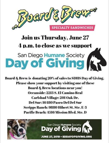 Jun 27 · San Diego Humane Society's Day of Giving event at