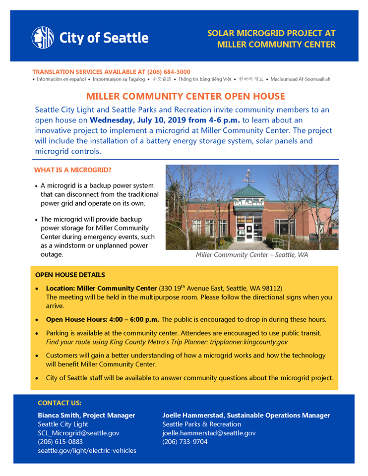 City Light/Parks to Host Microgrid Open House at Miller