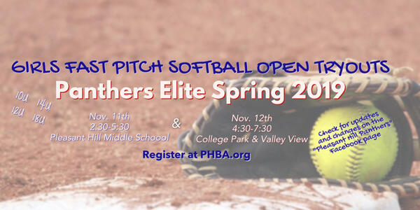 Nov 11 · Open Tryouts for Panthers Elite Fast-pitch Softball — Nextdoor