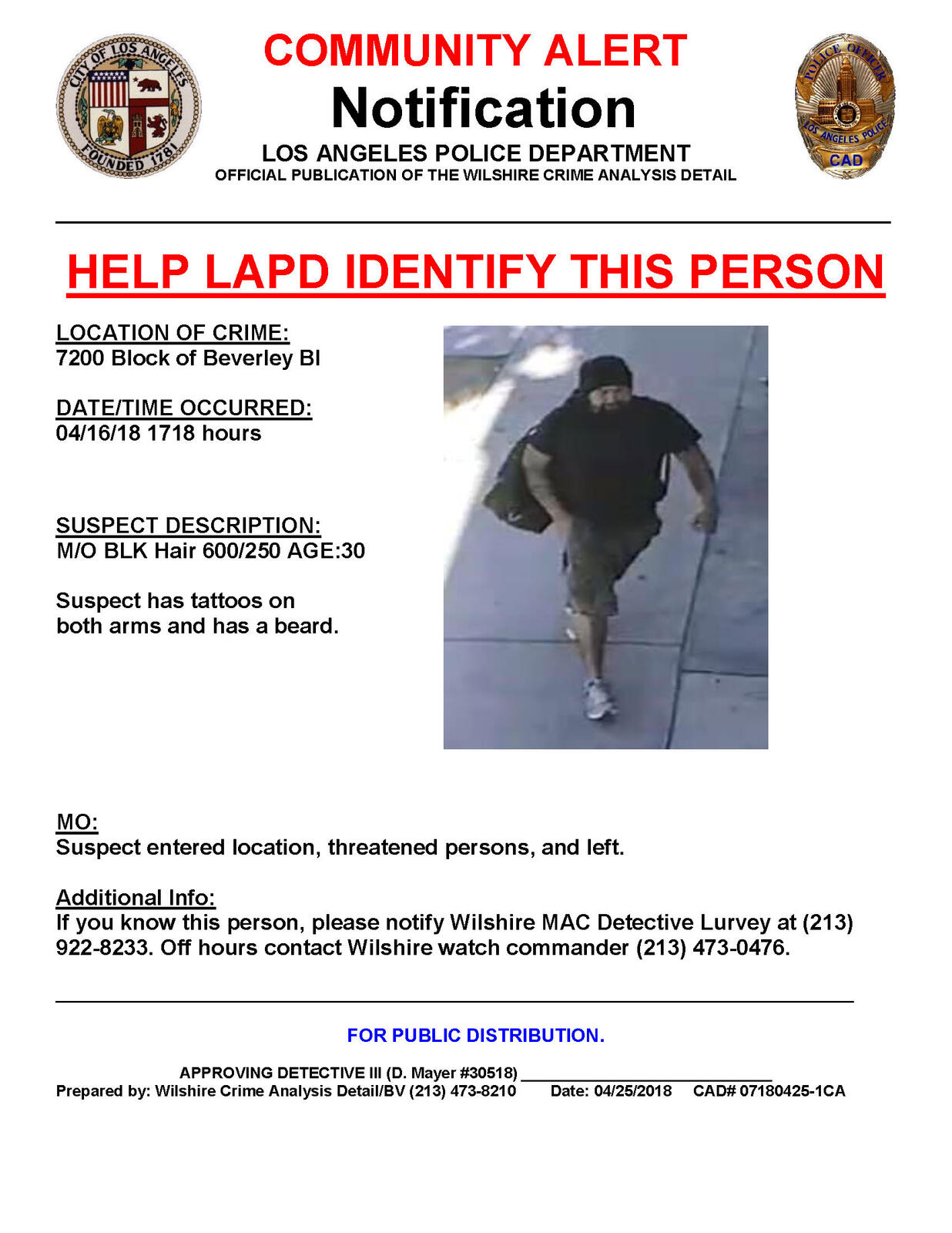Community Alert-Help LAPD Identify this person (Los Angeles