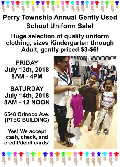 Jul 13 · Perry Township Annual Back to School Gently Used