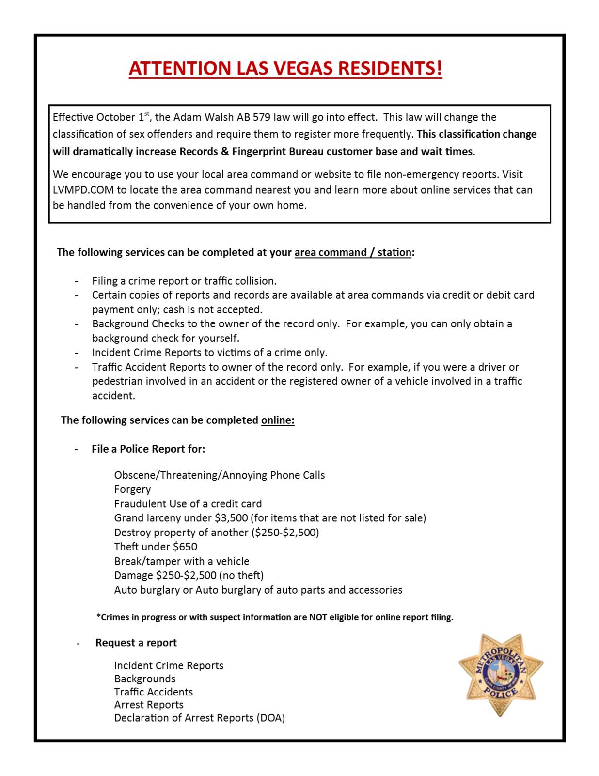 Filing a Police Report (Las Vegas Metropolitan Police Department