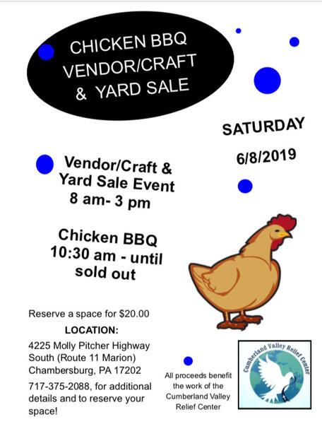 Jun 8 · Chicken BBQ, Craft/Yard Sales @ Cumberland Valley