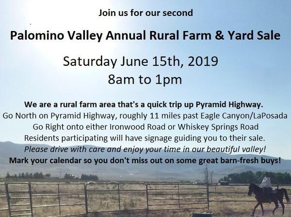 Jun 15 · Palomino Valley Annual Rural Farm & Yard Sale