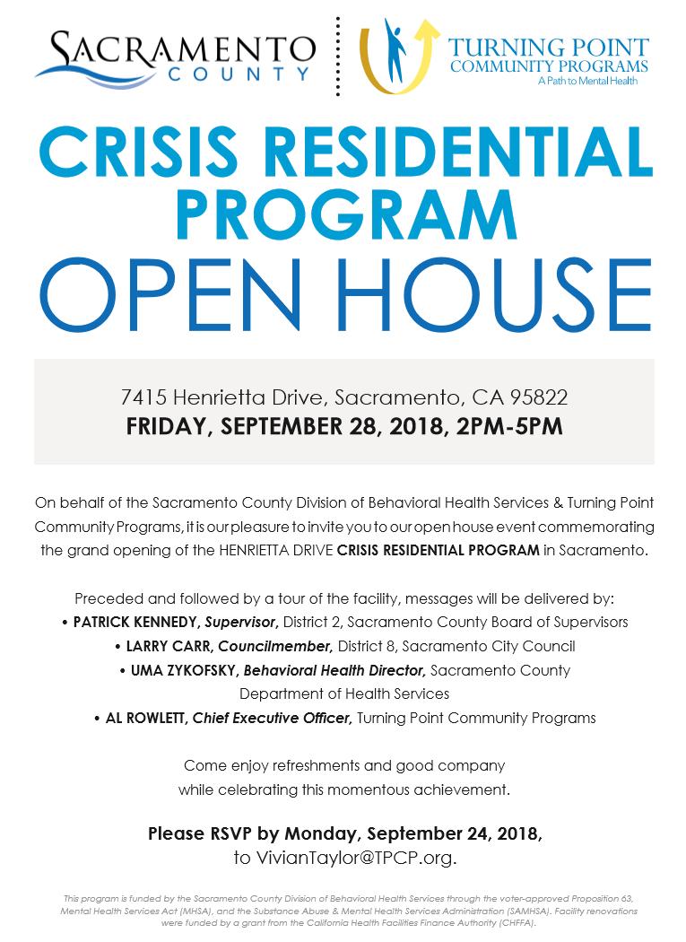 Crisis Residential Program Open House On Friday Sept 28