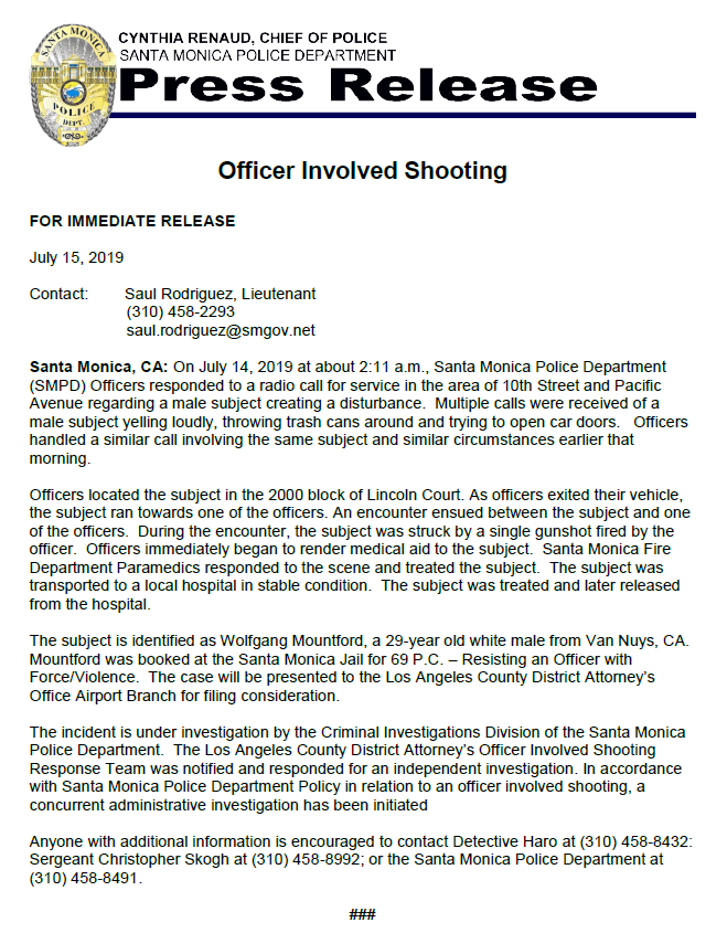 SMPD OFFICER INVOLVED SHOOTING, July 14, 2019 (Santa Monica